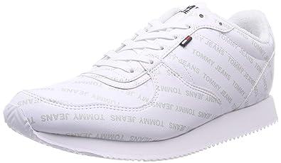 91d4337a3413 Hilfiger Denim Herren Tommy Jeans Print City Sneaker, Weiß (White 100), 40