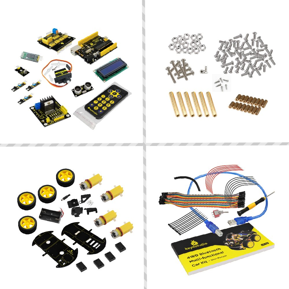 keyestudio Robot Kit for Arduino 4WD Bluetooth Multi-functional Smart Car Kit with UNO R3 and Tutorial, Stem Education Toy for Boys and Girls by KEYESTUDIO (Image #5)