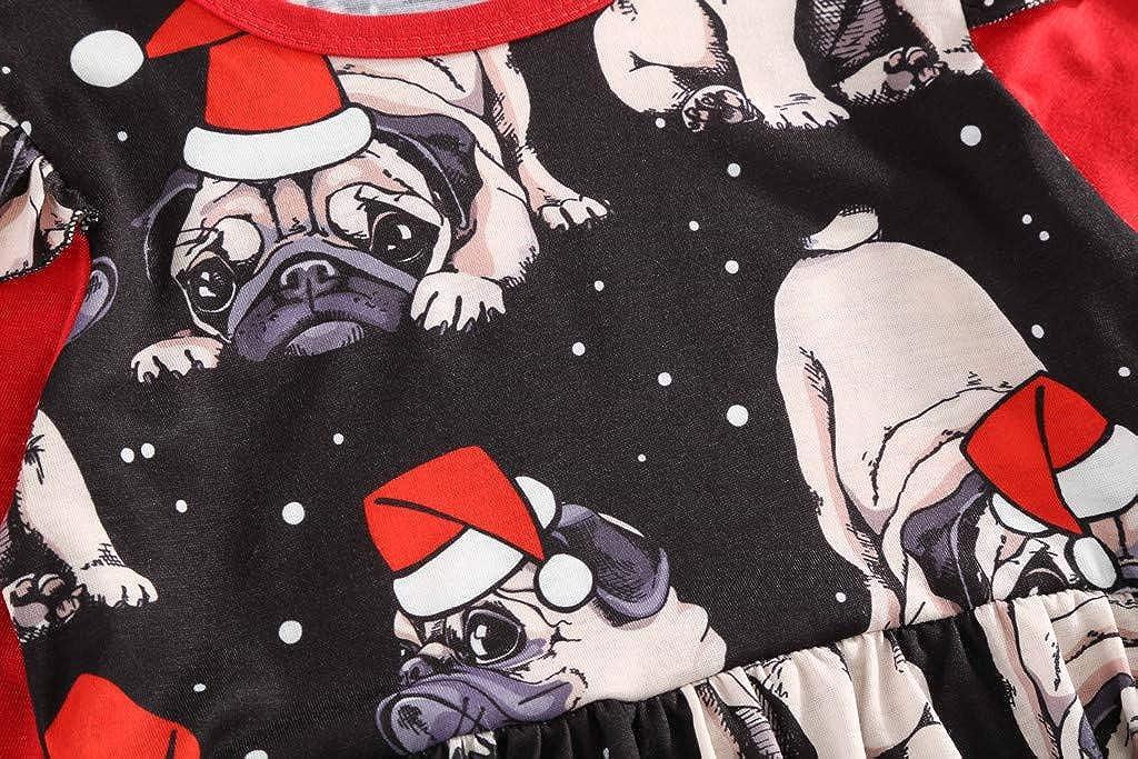 WEXCV Baby M/ädchen Weihnachtskleid Herbst Baby Kinder Kleinkind Gefaltete Kante Freizeit Kleid Langarm A-Linie Kleider T-Shirt Kleid Cartoon Weihnachtsmuster Partykleider Kleidung 2-8 Jahre