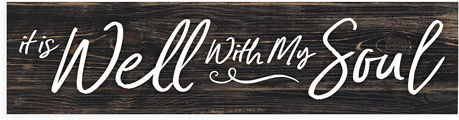 P. Graham Dunn It is Well with My Soul Script Design Distressed 6 x 1.5 Mini Pine Wood Tabletop Sign Plaque