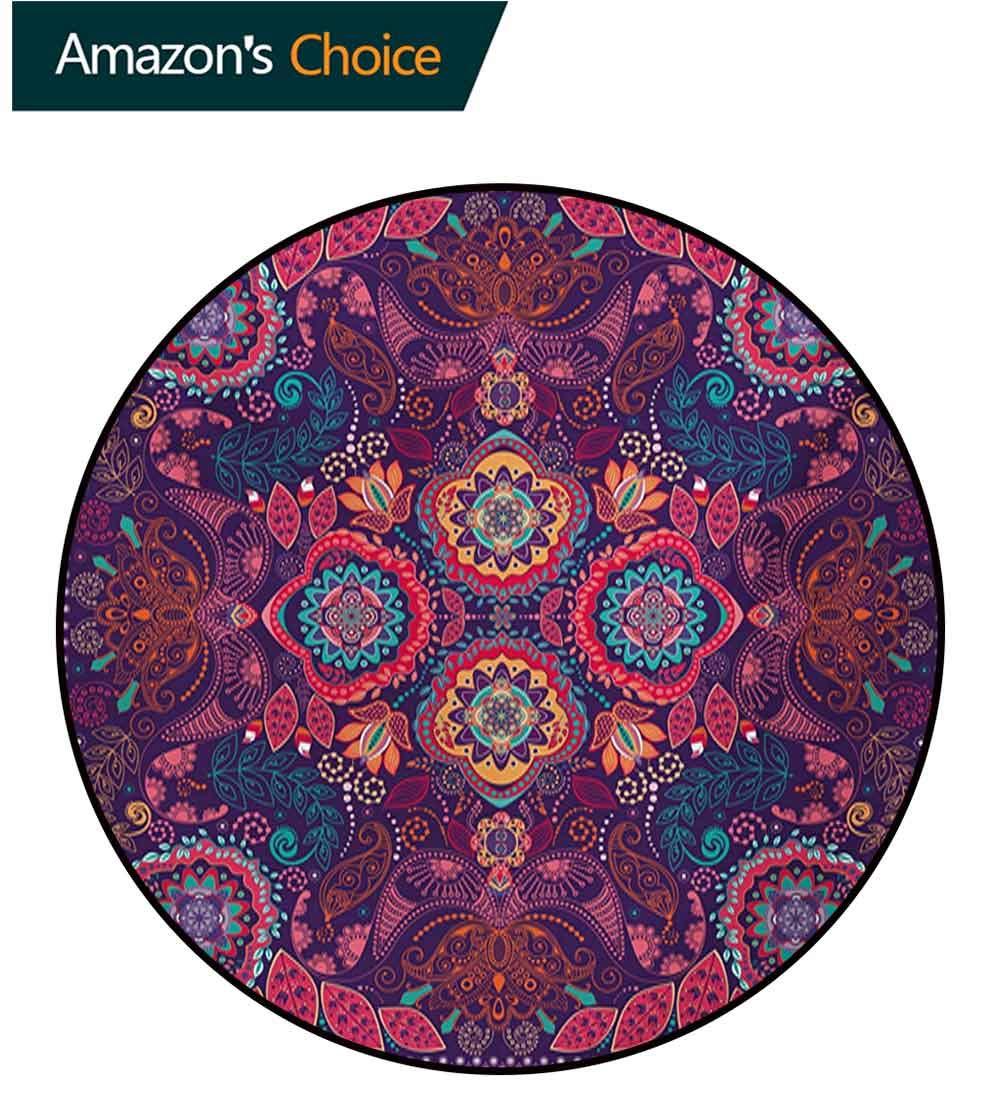 RUGSMAT Paisley Modern Machine Round Bath Mat,Modern Classic Ethnic Asian Design with Dots Leaves and Flowers Artistic Print Non-Slip No-Shedding Kitchen Soft Floor Mat,Round-55 Inch