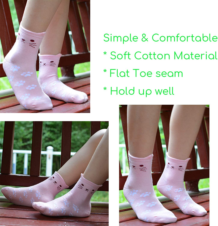 Girls Cotton Crew Socks Kids Novelty Cat Cartoon Lovely No Toe Seam 5 Pack