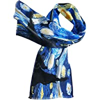 Women's SILK Scarf 100% Pure Luxury Lightweight Long Scarf - Starry Night Painting by Van Gogh, Art on Silk Collection…