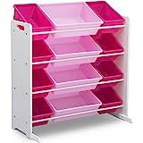 Delta Children Kids Toy Storage Organizer with 12 Plastic Bins, White/Pink
