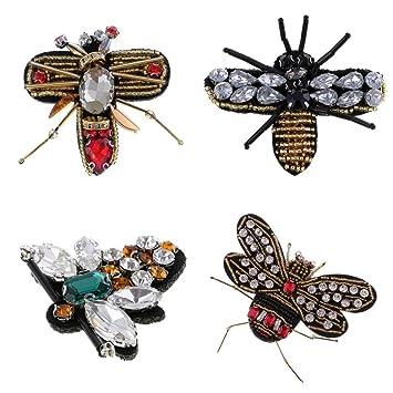 MagiDeal 4 Stück Biene Libelle Pailletten Strass Applikationen ...