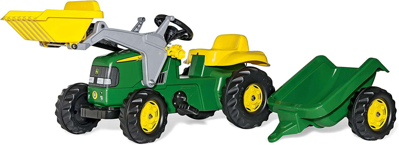 Rolly Toys 023110 John Deere - Tractor a pedales con pala frontal y remolque (168 cm), verde y amarillo [Importado de Alemania]