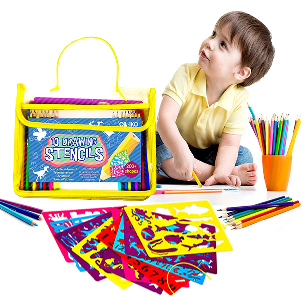 Kids Drawing Stencils Art Set W/More Than 200 Shapes, 50 a4 Painting Papers, 20 Color Pencils & Sharpener. Great for Children Learning Letters, Numbers, Animals. Educational Gift for Boys & Girls
