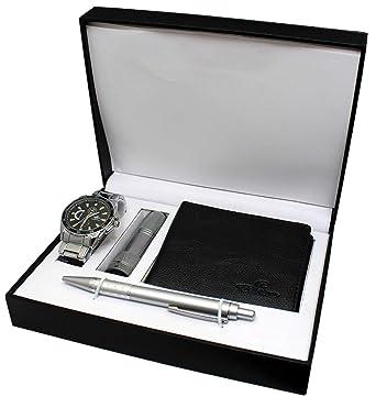 Caja de regalo para reloj de pulsera para hombre con linterna led, carteras y bolígrafo