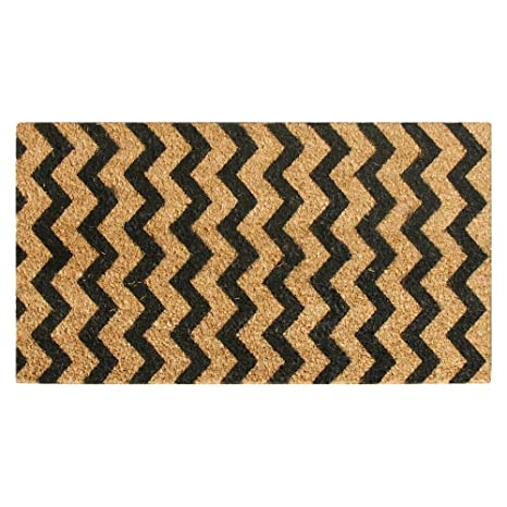 Rubber Cal 10 102 031 Modern Lattice Contemporary Coir Doormat, 18u0026quot
