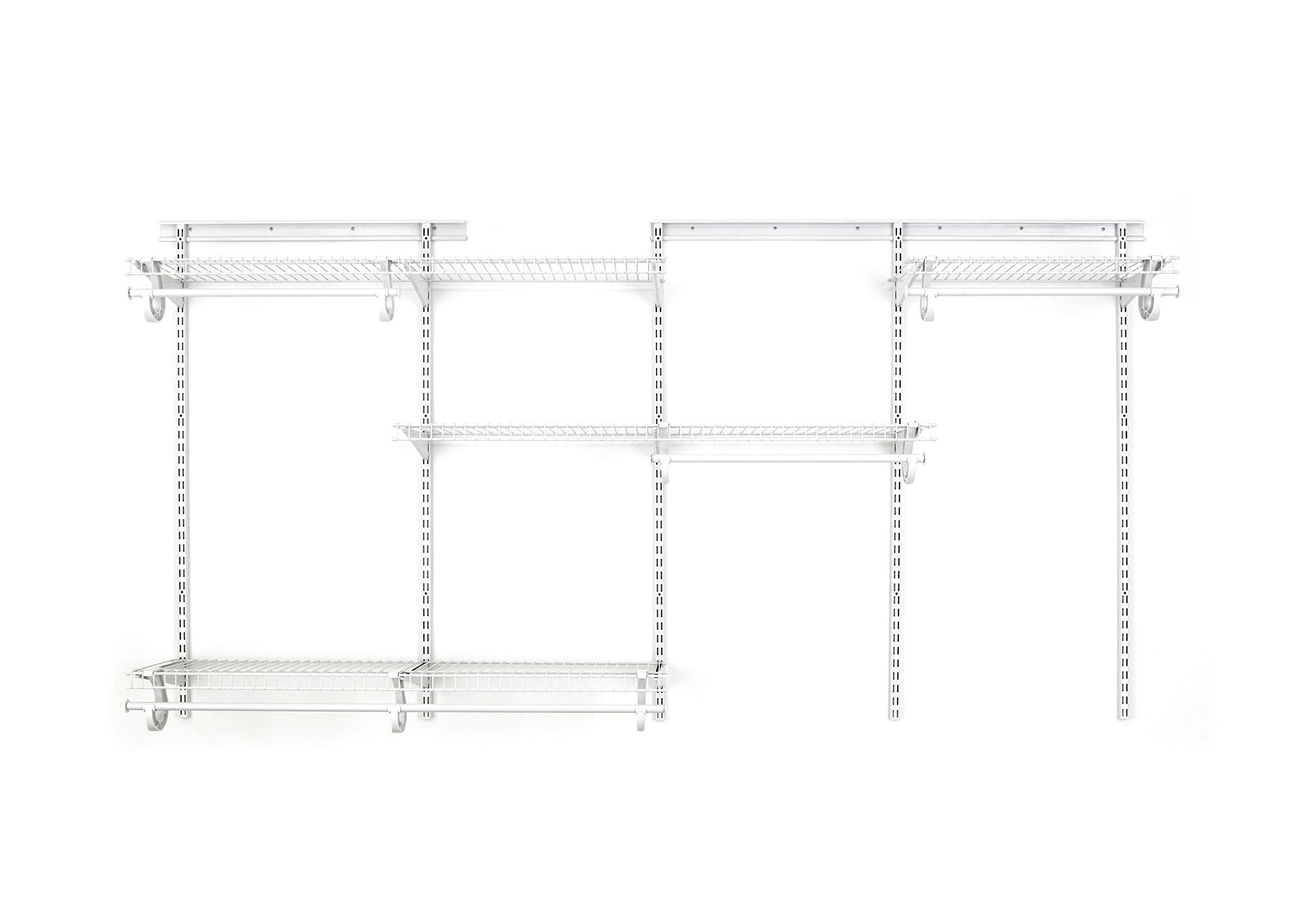 ClosetMaid 8809 ShelfTrack 5ft. to 8ft. Adjustable Closet Organizer Kit, White