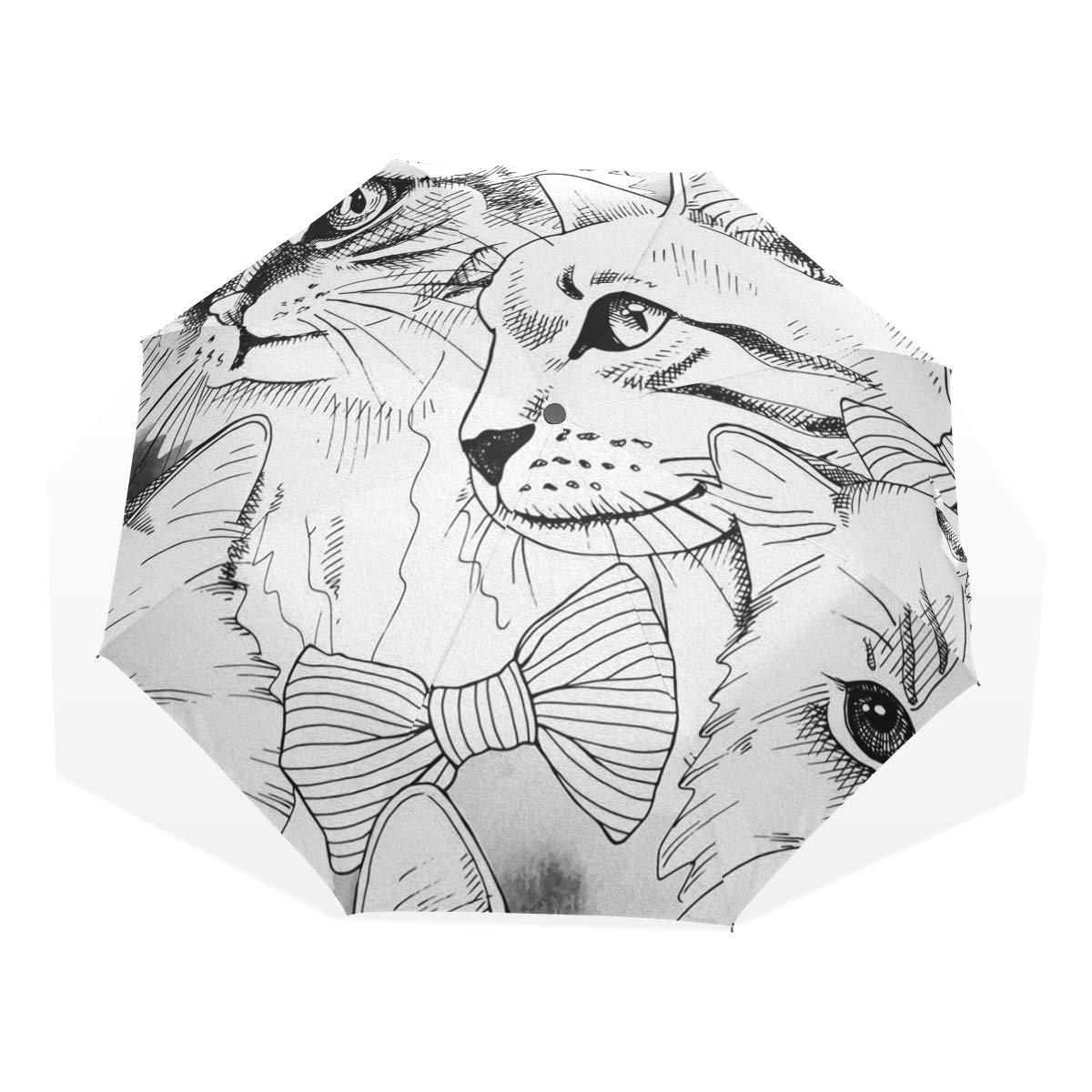 Umbrella cat sketch n draw nauto open umbrella waterproof lightweight anti uv sun rain umbrella folding compact travel umbrella outdoor golf umbrella for