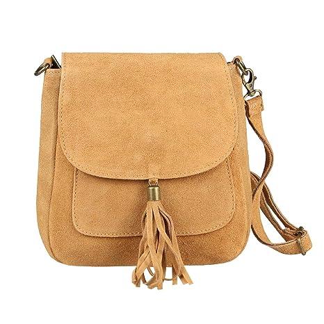 47b718e0f2323 Made in Italy Damen Leder Tasche Messenger Bag Henkeltasche Wildleder  Handtasche Umhängetasche Ledertasche Schultertasche Beuteltasche Fransen