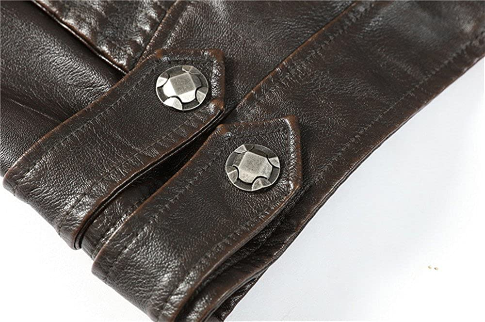Luserin Mens Vintage Stand Collar PU Leather Jacket