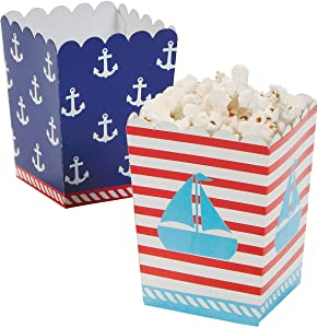 Fun Express - Mini 1st Sailor Popcorn Boxes (24pc) for Birthday - Party Supplies - Containers & Boxes - Paper Boxes - Birthday - 24 Pieces