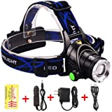 Aidisun 6000 Lumens Led Headlamp Zoomable and Adjustable Made of Aluminum Alloy Headlight Rechargeable Suitable for Biking Working Hunting Fishing Riding Walking