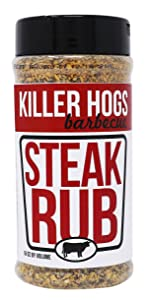 Killer Hogs BBQ Steak Rub | Championship BBQ and Grill Seasoning for Beef, Steak, Burgers, and Chops | Salt, Pepper, Herbs, and Spices | 16 oz
