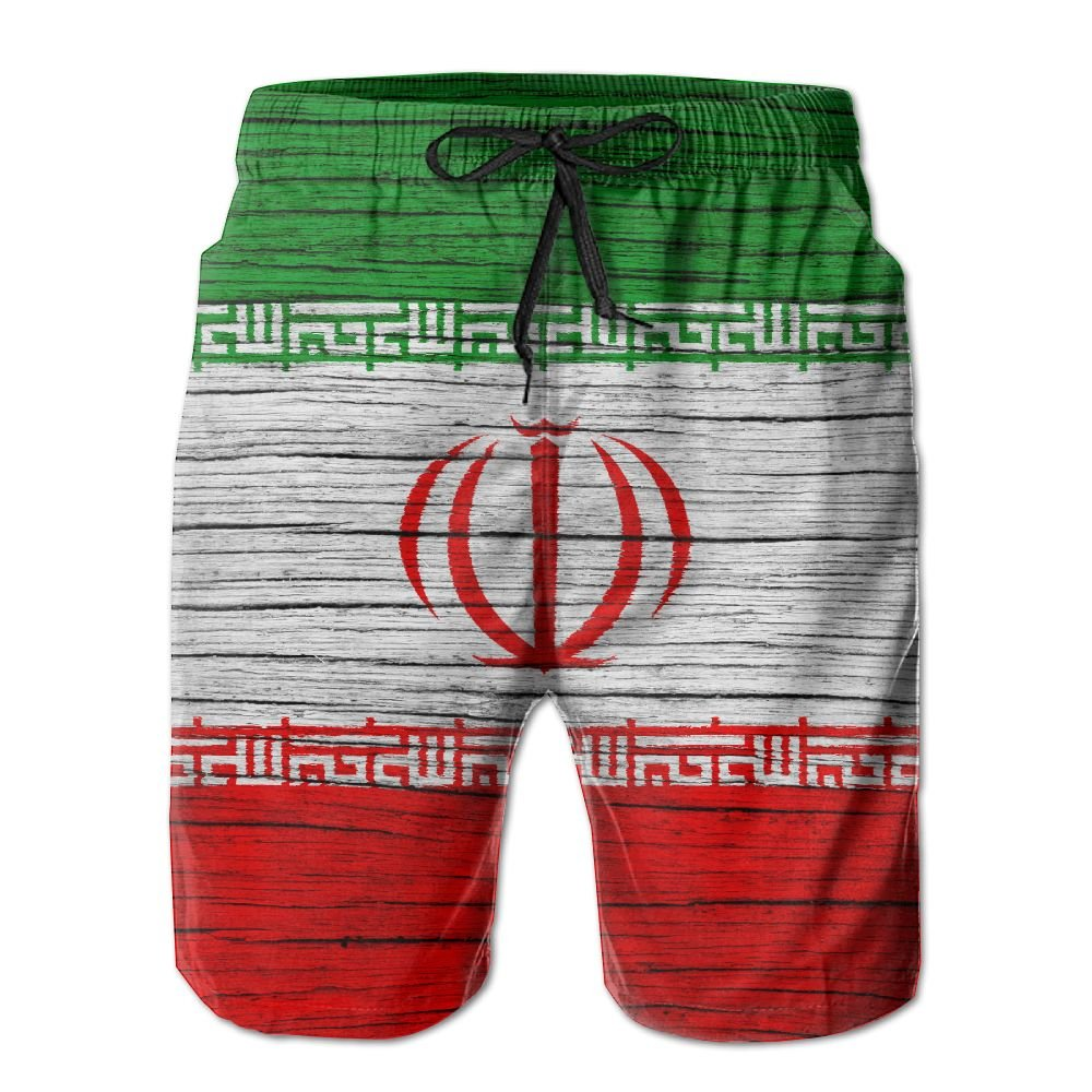 HFSST Iran Wooden Texture Iranian Flag Men Kid Male Summer Swimming Pockets Trunks Beachwear Asual Shorts Pants Mesh