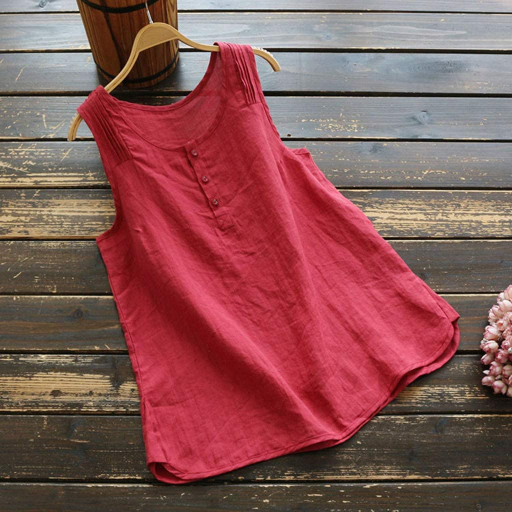 GOWOM Women Casual Plus Size Linen Tops Tee Vintage Solid Sleeveless Loose Vest Blouse