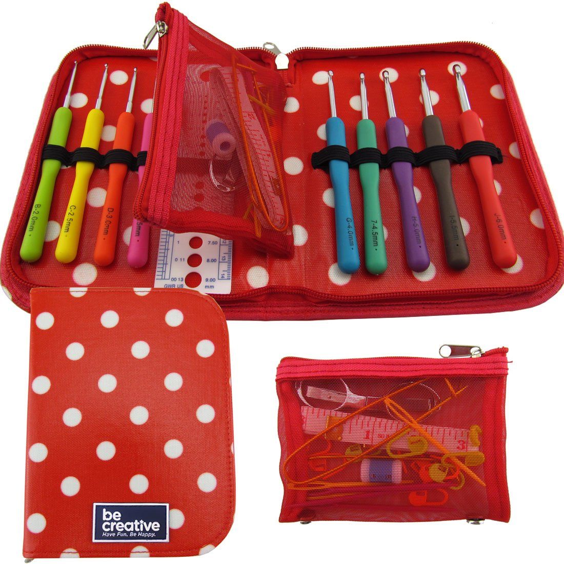 Best Crochet Hook Set with Ergonomic Handles for Extreme Comfort. Perfect Crochet Hooks for Arthritic Hands, Smooth Needles for Superior Results & 22 Knitting Accessories to use with All Patterns. BeCraftee