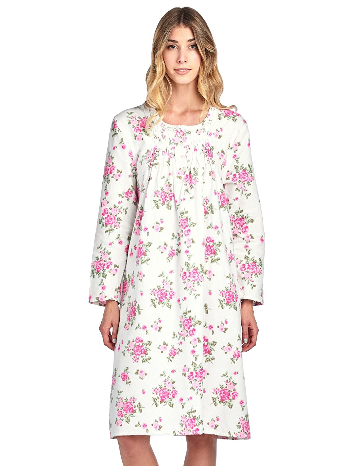 Casual Nights Women's Flannel Floral Long Sleeve Nightgown Flannel Lace Trim Nightshirt
