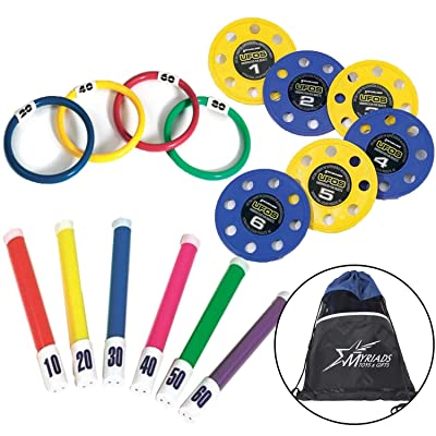 Swimline 16 Piece Diving Pool Toy Set: 4 Rings, 6 Flex Sticks, 6 UFO Discs, with Drawstring Bag: Toys & Games