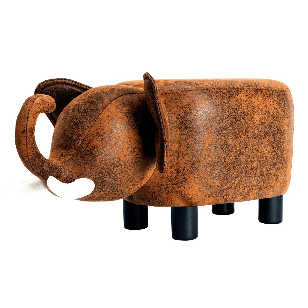 GUTEEN Upholstered Ride-on Toy Seat Ottoman Footrest Stool with Vivid Adorable Animal-Like Features(Brown elephant)