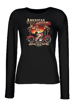 Damen Langarmshirt, Longsleeve, Geschenk, Farbe: Schwarz, Motiv: American  Dream Babe