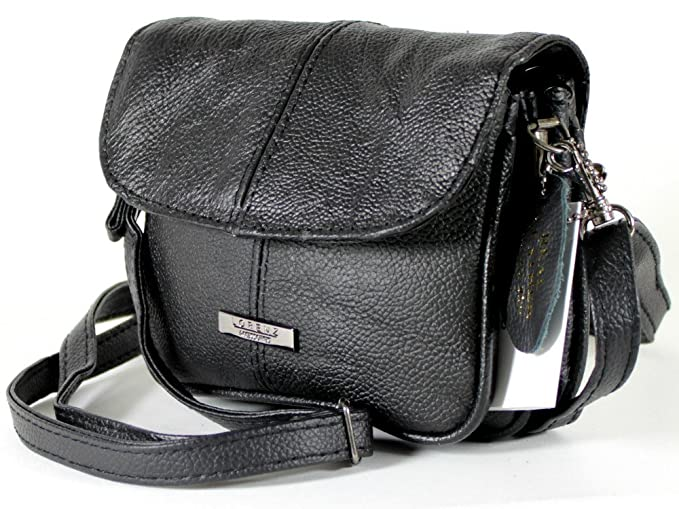 Lorenz Womens Black Real Leather Cross Body Shoulder Bag Handbag