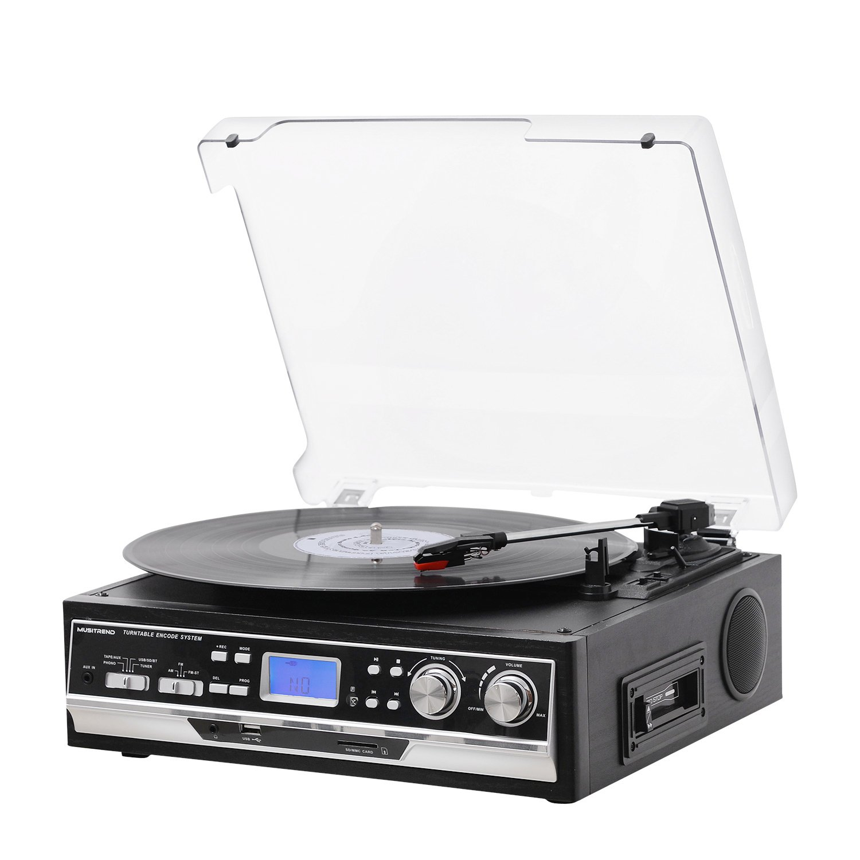 Musitrend Belt Drive 3 Speed Tocadiscos con pantalla LCD Soporta MP3, láser de codificación USB/SD/MP3 & WMA Reproducción/Recorder, AM/FM Radio, ...