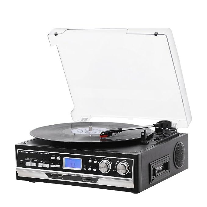 MUSITREND Tocadiscos 33/45/78 RPM, Maleta Portátil con 2 Altavoces Integrados, con RCA, Auriculares y Line in Montado
