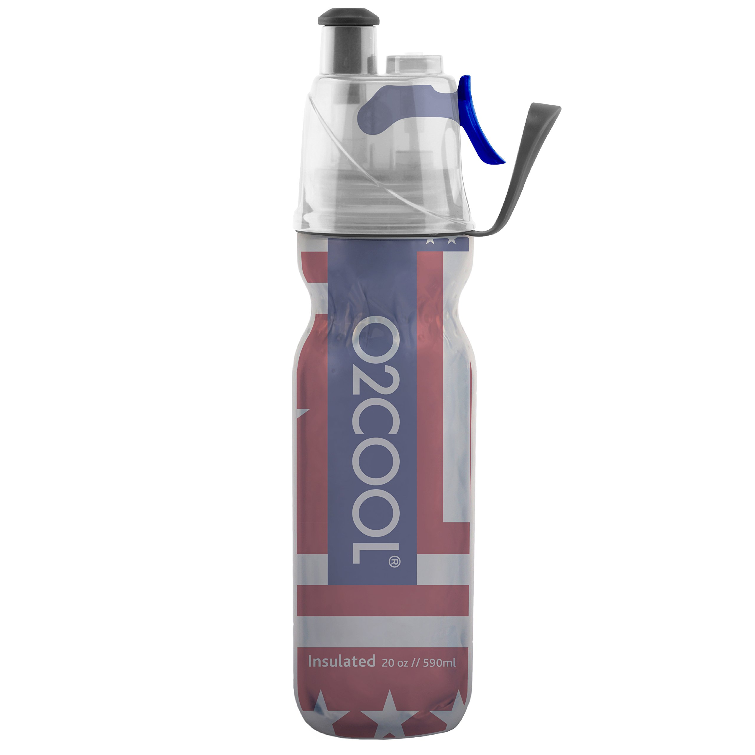 O2COOL ArcticSqueeze Insulated Mist 'N Sip Squeeze Bottle 20 oz, Patriotic One