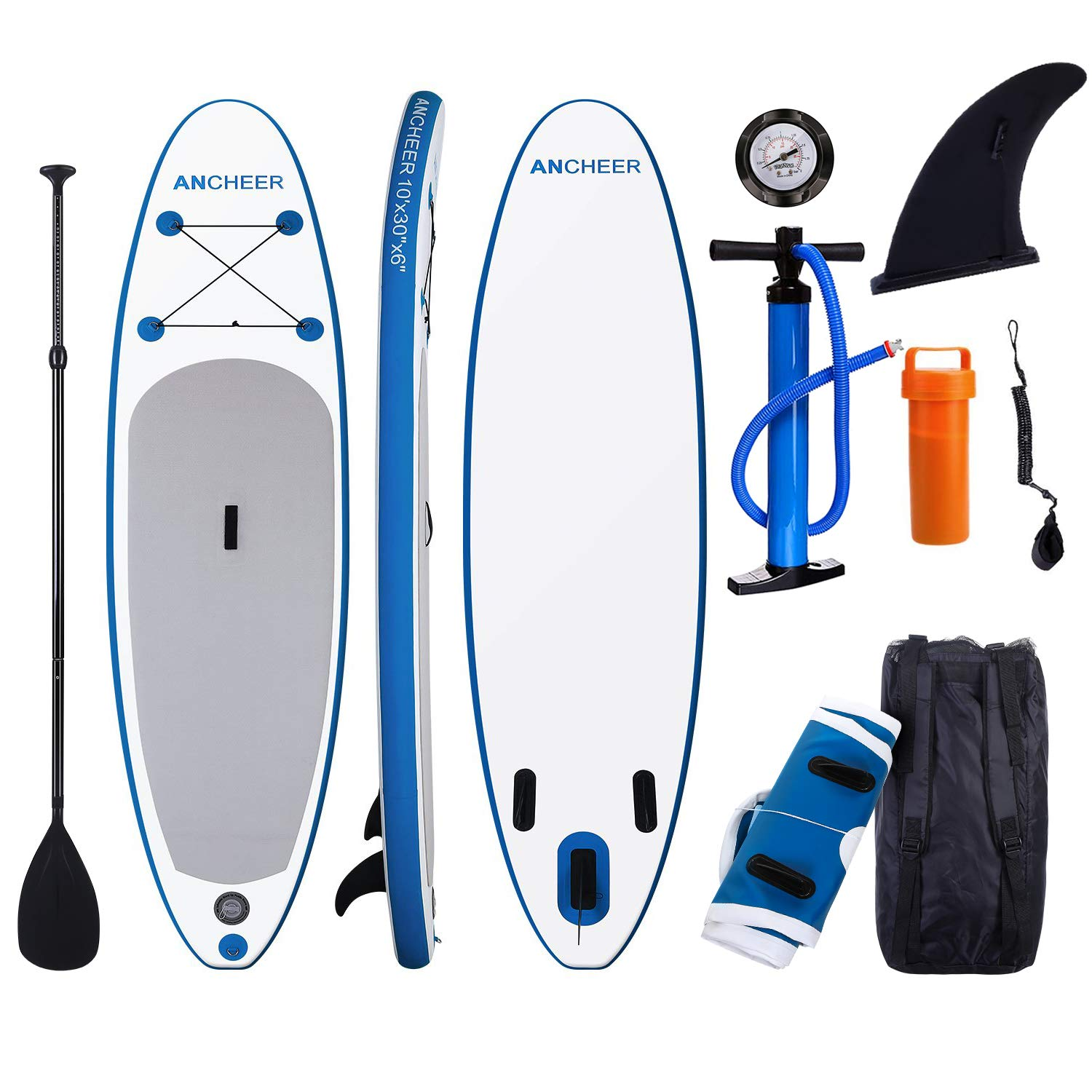 ANCHEER Inflatable Stand Up Paddle Board 10' with Non-Slip Deck,iSUP Boards w/Complete KIT, Adjustable Paddle, Leash, Fin, Hand Pump and Backpack, Youth & Adult