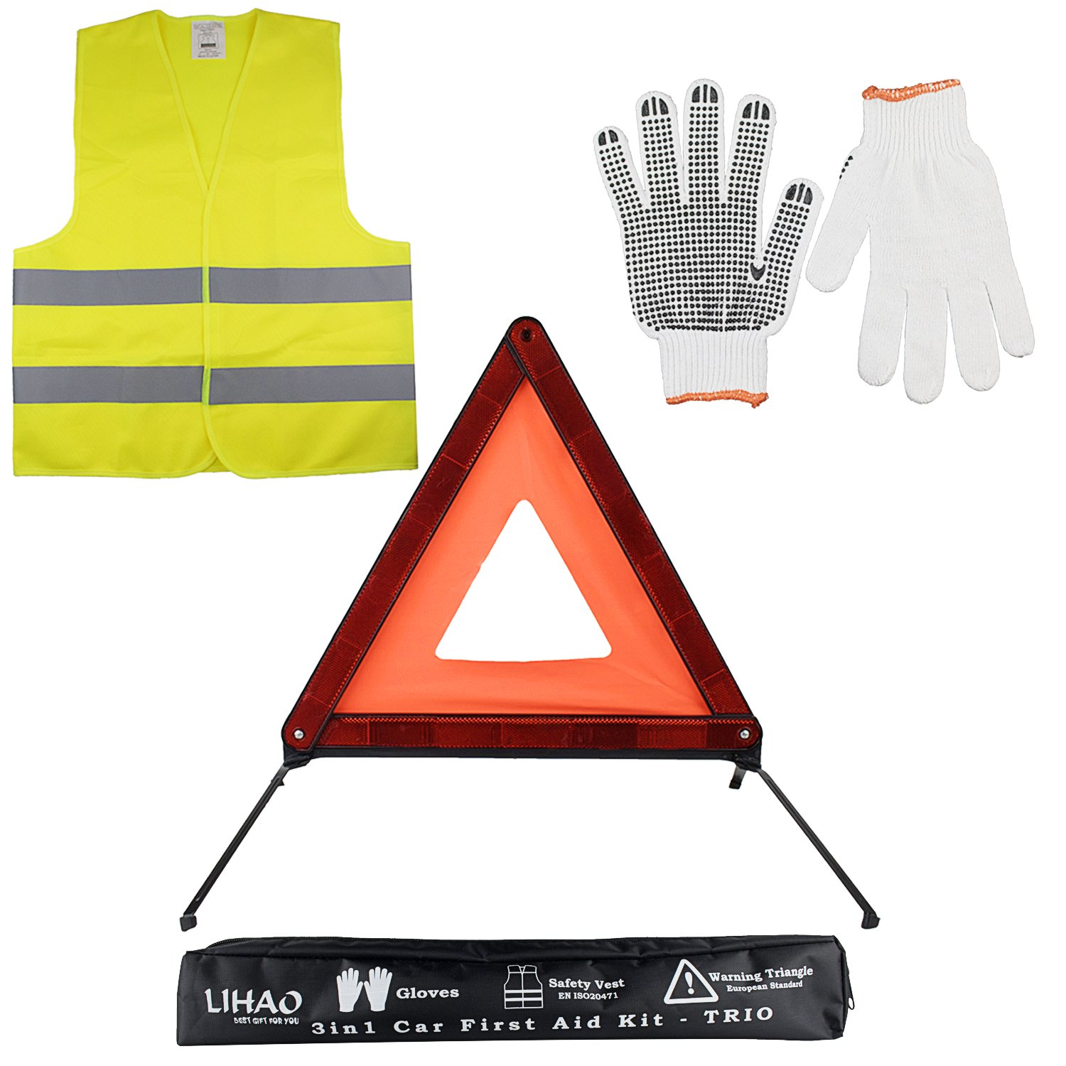 LIHAO Emergency Car Kit- Warning Triangle, Gloves, Safety Vest - Set of 3