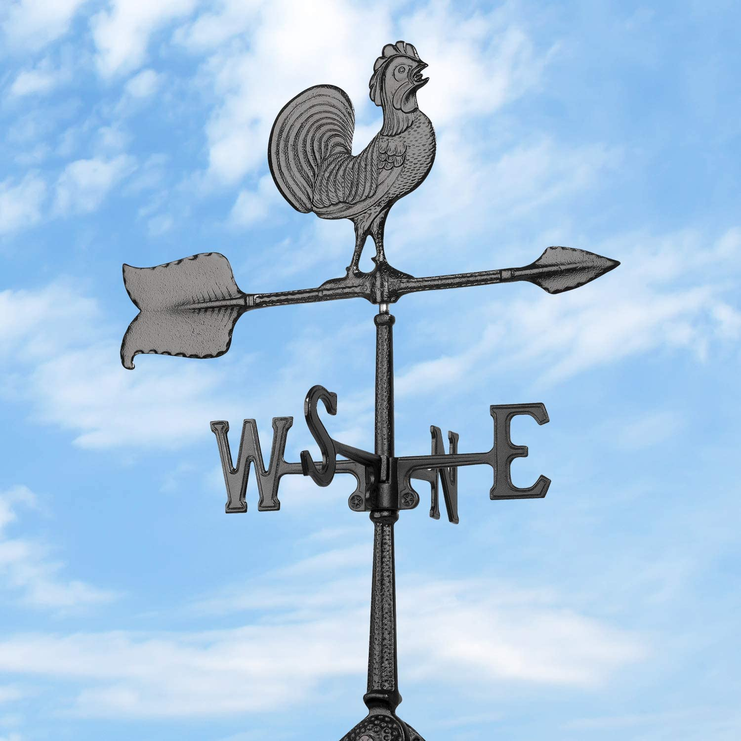24-Inch Black Whitehall Products Rooster Accent Weathervane