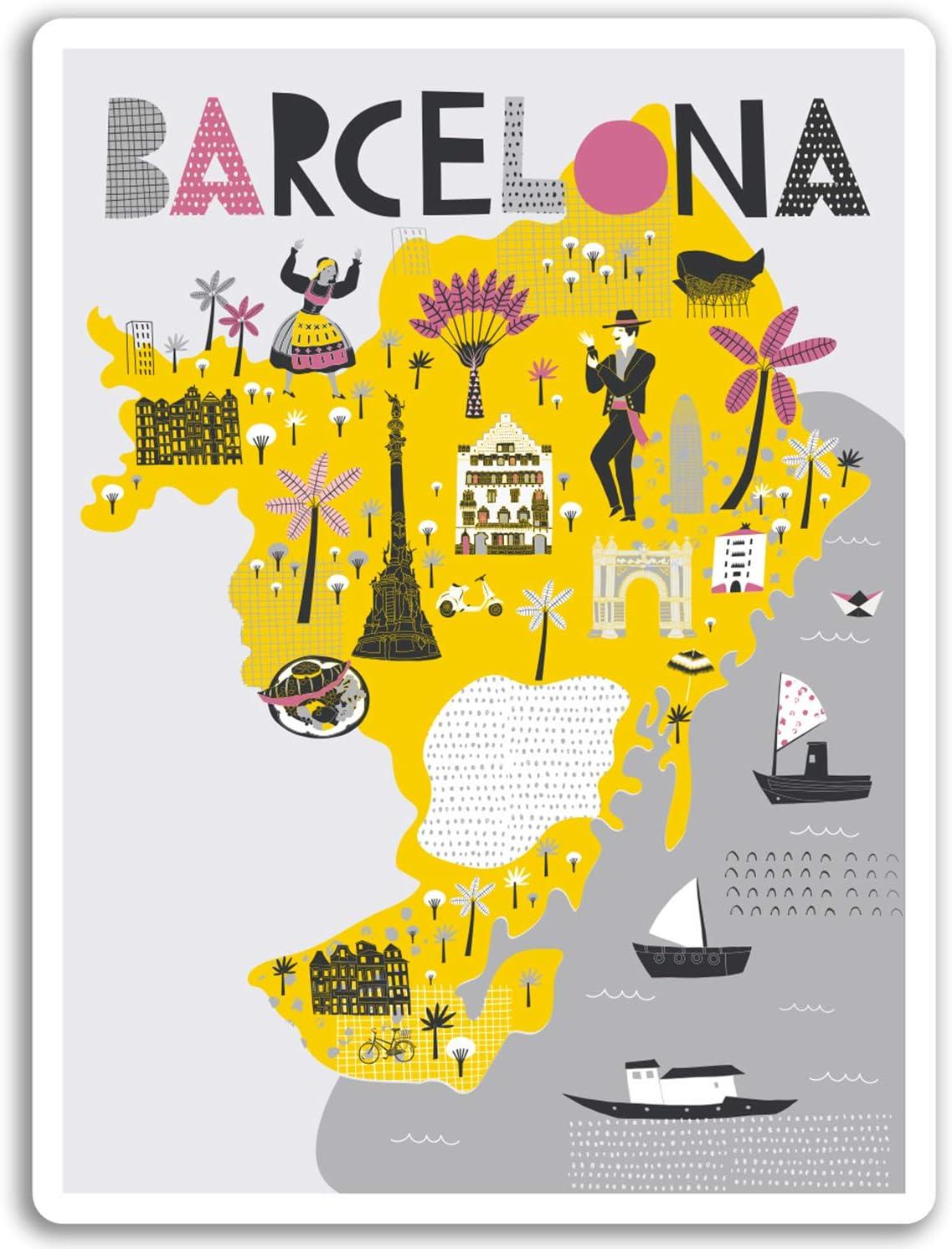 2 x 10 cm en Barcelona Mapa de la ciudad pegatinas de vinilo ...