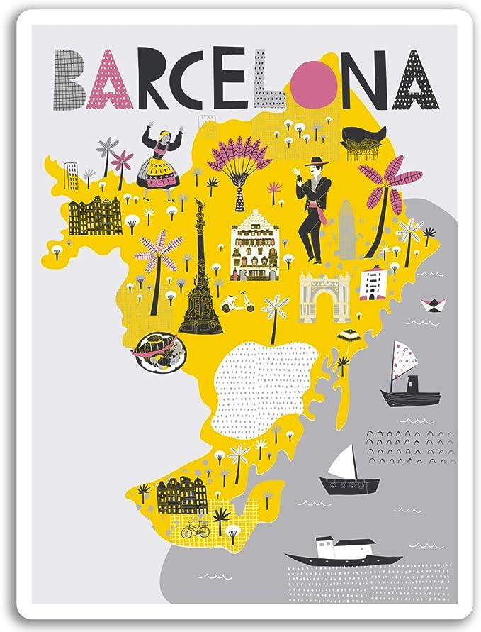 2 x 10 cm en Barcelona Mapa de la ciudad pegatinas de vinilo - Viajes España Etiqueta de equipaje # 17270 (10 cm de altura): Amazon.es: Hogar