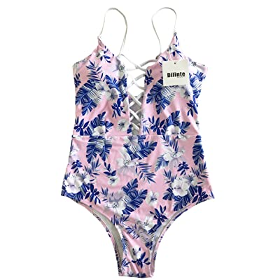 dilinte One Piece Swimwear Front Strappy Cross Women's Swimsuit Floral Print Bathing Suit
