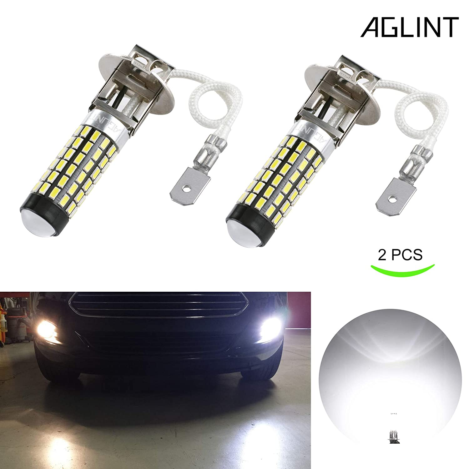 AGLINT H3 LED Coche Luz De Niebla DRL Bombilla 3014 78SMD Super Brillante LED Luces Antiniebla 12V 24V 6000K Blanco AGLINTLED