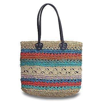 9fc20f778f74 Amazon.com: Hogoo Womens Straw Market Tote Bag Colorful Large Woven ...