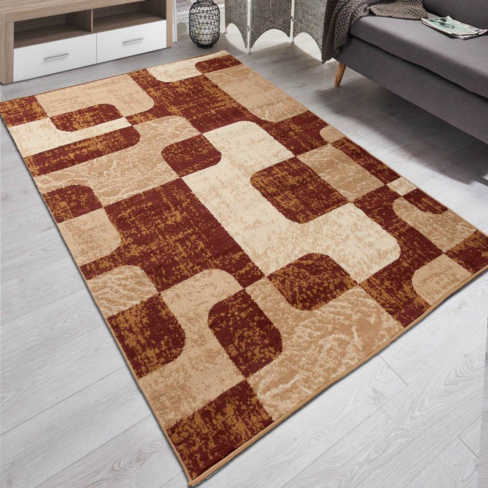 Carpeto Designer Teppich Modern Retro Stil Muster Meliert In Braun, Beige - ÖKO Tex (200 x 300 cm)