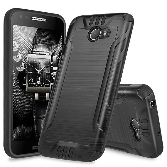 buy online 390b7 de657 Alcatel A30 Case, Alcatel Kora Case, Alcatel Zip LTE Case, TJS Dual Layer  Hybrid Shockproof Impact Resist Rugged Drop Protection Case Cover Metallic  ...