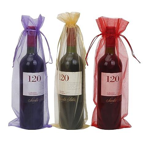 Bolsas de yute para botella de vino con cordón, reutilizables, para decoración de botellas Organza de color rojo, morado y dorado.
