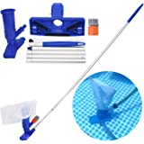 LXun Pool Pond Spa Mini Jet Handheld Jet Vacuum Heads Cleaner Set with Brush, Bag and 5 Pole Handle for for Above Ground…