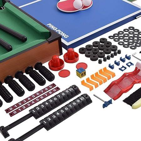 COSTWAY 4 en 1 Mesa Multijuegos Mesa de Futbolín Billar Hockey Pimpón Juego de Mesa para Niño Adulto Regalo Fiesta: Amazon.es: Juguetes y juegos