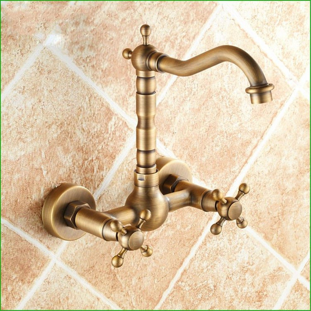 Commercial Single Lever Pull Down Kitchen Sink Faucet Brass Constructed Polished Full Copper Antique Wall-Mounted Bathroom Faucet Can redate Hot and Cold Water Into The Wall Kitchen Faucet