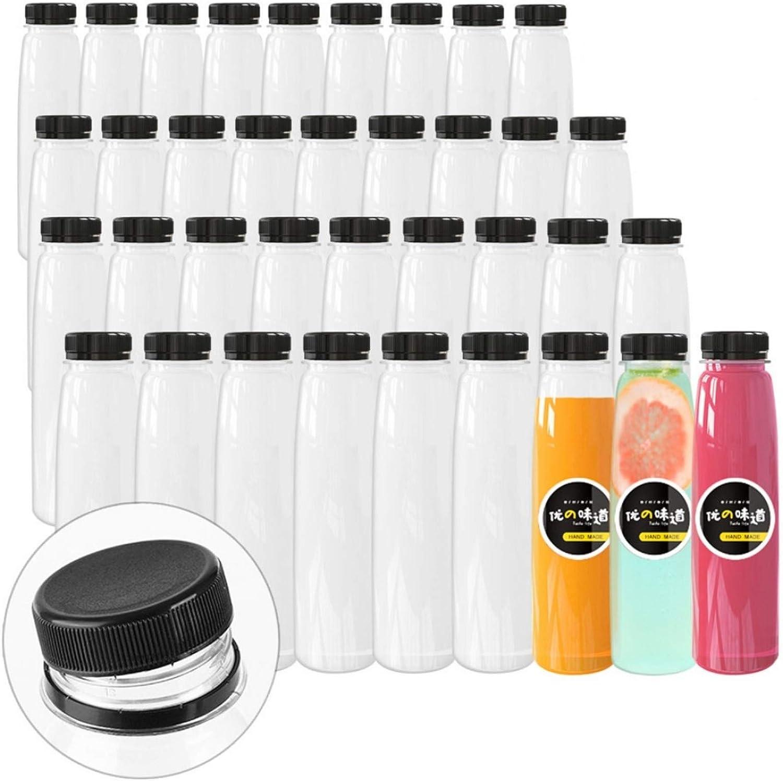24 Pack Empty PET Plastic Juice Bottles 16 OZ Clear Disposable Bulk Drink Bottles with Black Tamper Evident Caps Lids (16 OZ, Black)
