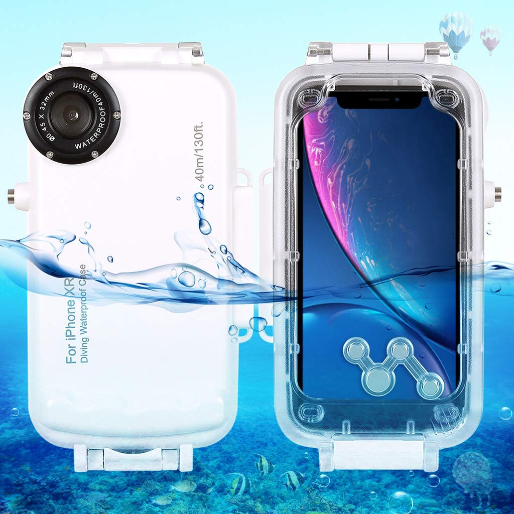 Fangoog for iPhone XR Underwater Housing Professional IPX8 40m/130ft Diving Explosion-Proof Mobile Phone Case with Lanyard for Diving Surfing Swimming Snorkeling Photo Video (iPhoneXR,White)