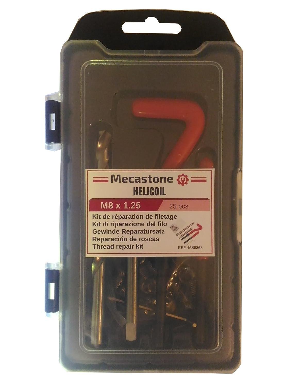 Set da 25 Pezzi Ripristina Filetti per rifare una Filettatura o un Passo di Vite Errato Inserti Elicoidali o v-Coil MECASTONE HELICOIL Kit di Riparazione Filettatura per Filetti Riportati M12 x 1.75