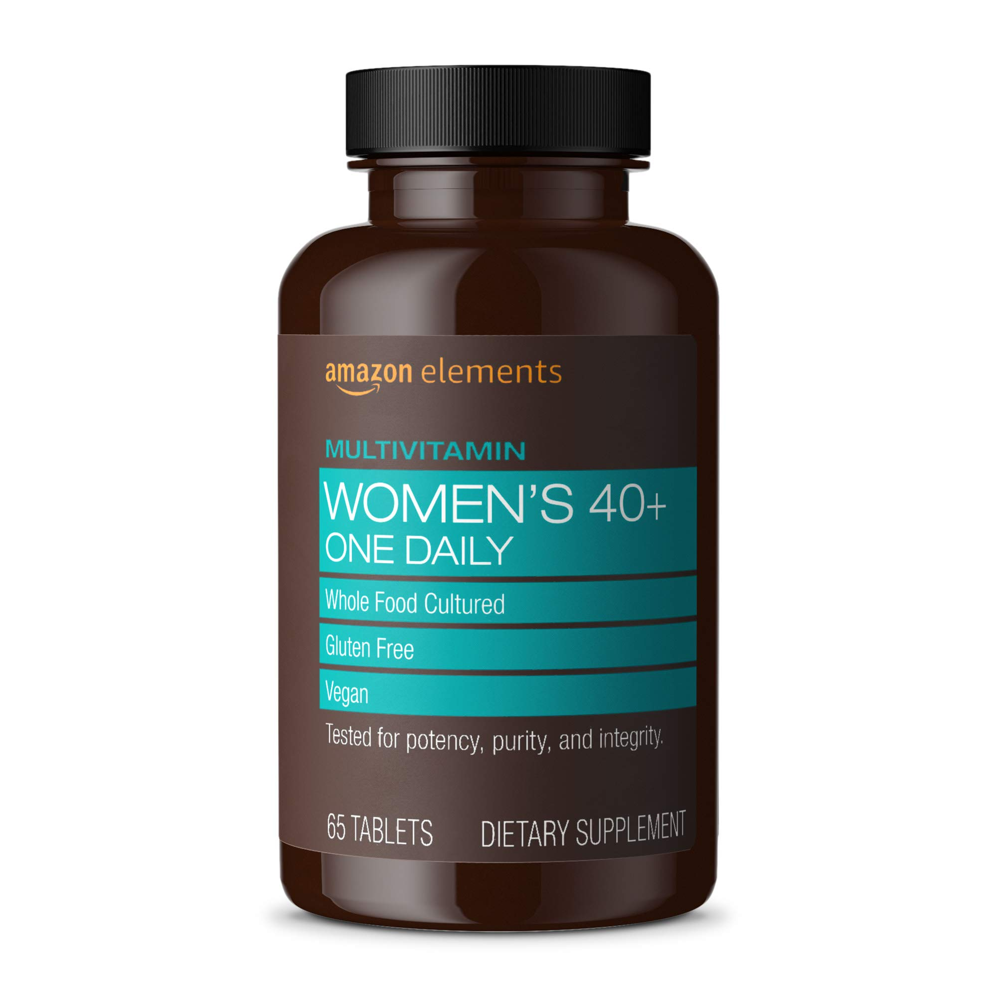 Amazon Elements Women's 40+ One Daily Multivitamin, 66% Whole Food Cultured, Vegan, 65 Tablets, 2 month supply (Packaging may vary)
