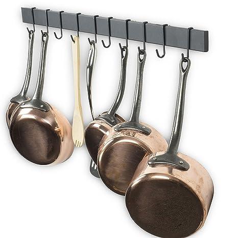 wallniture ferrocarril organizador de hierro para colgar utensilios de cocina con ganchos de Frosty negro 30